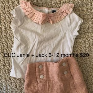 Janie and Jack Matching Sets - Janie and Jack light pink ruffle tee + shorts set